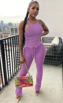 Conjunto de chaleco y pantalones apilados púrpura informal de verano a juego