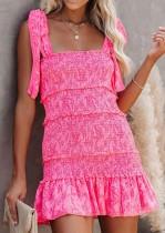 Mini abito con cinturino annodato rosa casual estivo