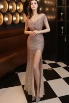 Summer Formal Fringe Upper Sequins Slit Evening Dress