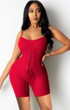 Pagliaccetti con cinturino a coste aderenti sexy con lacci rossi estivi