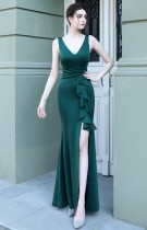 Summer Formal Green Sleeveless V-Neck Ruffles Slit Evening Dress