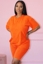 Sommer Casual Cotton Orange Matching Shirt und Biker Shorts 2pc Set