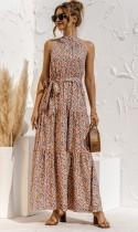 Sommer Casual Print Floral Scoop Langes Maxi Sommerkleid mit Gürtel