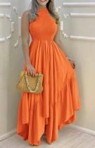 Vestido largo irregular sin mangas con ajuste y llamarada naranja formal de verano