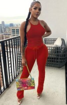 Sommer Casual Red Matching Weste und Stacked Pants Set