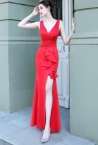 Summer Formal Red Sleeveless V-Neck Ruffles Slit Evening Dress
