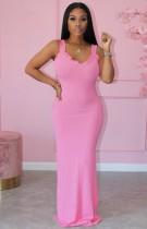 Abito lungo a costine con cinturino rosa con volant rosa formale estivo