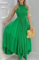 Vestido largo irregular sin mangas verde formal sin mangas de verano