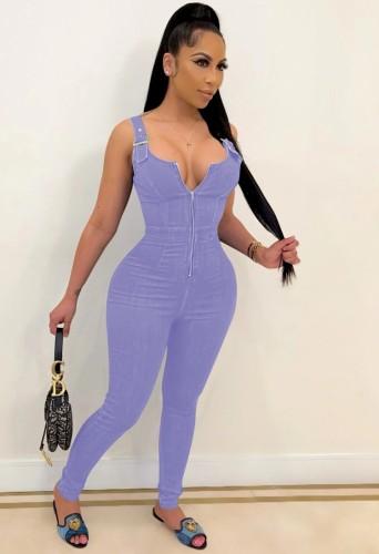Summer Purple Wide Strap Zip Up Bodycon Denim Jumpsuit
