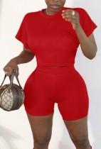Summer Red Sexy Crop Top y Biker Shorts Conjunto de 2 piezas