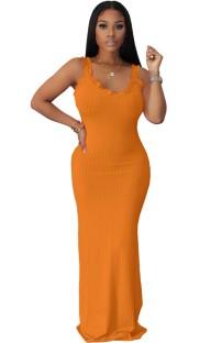 Летнее формальное длинное платье в рубчик с оборками на бретелях