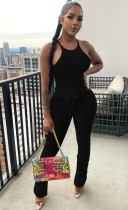 Sommer Casual Black Matching Weste und Stacked Pants Set