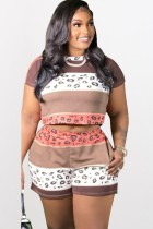 Sommer Plus Size Casual Print Crop Top und Shorts Set
