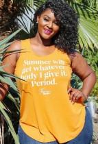 Summer Plus Size Print Gelbe Weste