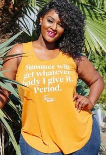 Colete Verão Plus Size Estampado Amarelo