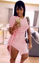 Abito camicia con stringhe arricciate a righe rosa casual estivo