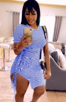 Summer Casual Blue Stripes Ruched Strings Shirt Dress