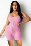 Pagliaccetti con cinturino a costine aderente sexy rosa estivo