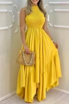 Vestido largo irregular sin mangas amarillo formal sin mangas de verano
