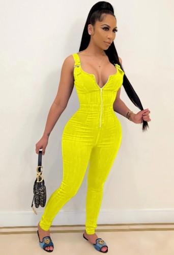 Summer Yellow Wide Strap Zip Up Bodycon Denim Jumpsuit