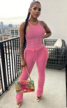 Sommer lässige rosa passende Weste und gestapelte Hosen Set
