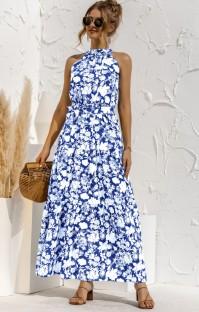 Vestido largo largo con estampado floral informal de verano con cinturón