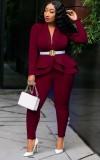 Весенний деловой костюм бордового цвета в тон с длинным рукавом с баской и брючный костюм