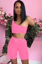 Summer Pink Waffle Sexy Conjunto de top corto y pantalón corto con un hombro