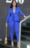 Весенний деловой костюм синего цвета в тон с длинным рукавом с баской и брючный костюм