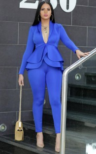 Printemps formel bleu assorti haut à basque à manches longues et pantalon costume