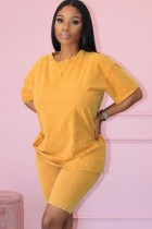 Sommer Casual Cotton Yellow Matching Shirt und Biker Shorts 2pc Set