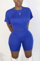 Summer Blue Sexy Crop Top y Biker Shorts Conjunto de 2 piezas