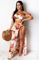 Conjunto de pantalones cortos florales de cintura alta de verano con falda larga a juego Conjunto de 3 piezas