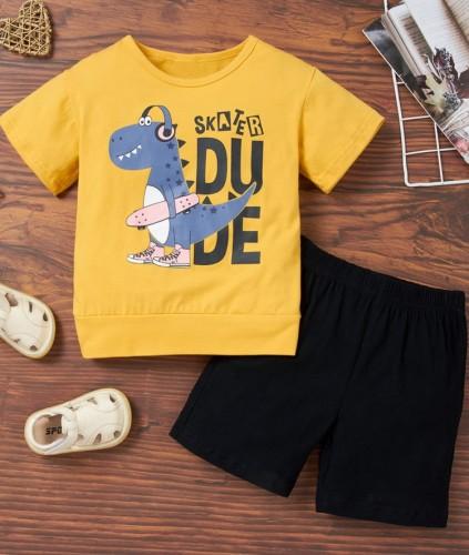 Kids Boy Summer O-Neck Print Shirt and Shorts Set