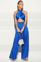 Summer Classy Wrap Crop Top y pantalones anchos Conjunto azul de 2 piezas