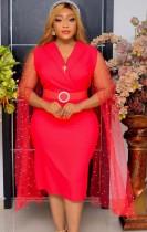 Vestido midi formal vermelho maduro de verão com mangas bordadas em malha