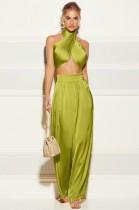 Summer Classy Wrap Crop Top y pantalones anchos Conjunto verde de 2 piezas