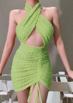 Летняя вечеринка, сексуальное мини-платье с вырезом и рюшами и завязками на бретелях