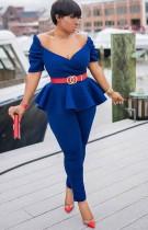 Traje de pantalón y top peplum sin tirantes azul formal de verano