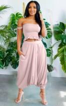 Summer Pink Strapless Crop Top y pantalones Boho Conjunto de 2 piezas