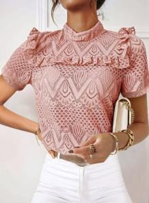 Blusa elegante de renda rosa verão com gola alta