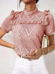 Летняя розовая кружевная водолазка Стильная блуза