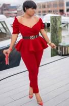 Sommer formelle rote trägerlose Schößchen Top und Hosen Anzug