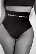 Summer Black Print Geripptes Höschen mit hoher Taille