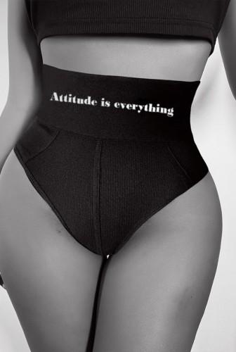 Culotte taille haute côtelée imprimée noire d'été