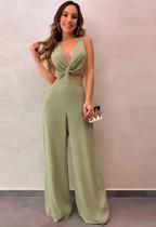 Summer Green Hollow Out Ärmelloser J-Anzug mit V-Ausschnitt