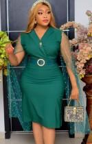Vestido midi formal de verão verde maduro com mangas bordadas em malha