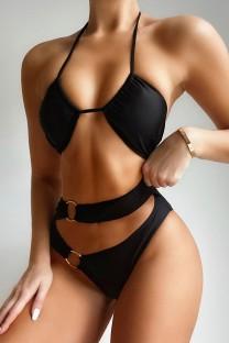 Costume da bagno con scollo a barchetta a vita alta con O-ring nero in due pezzi