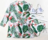 Costumi da bagno cover-up a vita alta con stampa estiva 3pc