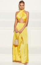 Summer Classy Wrap Crop Top y pantalones anchos Conjunto amarillo de 2 piezas